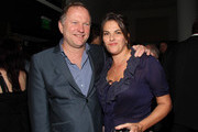 Nick Jones and artist Tracey Emin at the Tracey Emin dinner hosted by Phillips and Vanity Fair at Cecconi's at Soho Beach House on December 3, 2013 in Miami Beach, Florida.