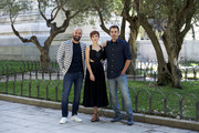 Spanish actress Aura Garrido (C), actor Alain Hernandez (L) and director Hugo Stuven (R) attend 'Solo' photocall on July 24, 2018 in Madrid, Spain.