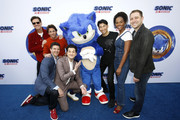 "(L-R) Jim Carrey, James Marsden, Jeff Fowler, Ben Schwartz, Sonic, Chief Executive Officer, SEGA, Haruki Satomi, Tika Sumpter, and Toby Ascher attend ""Sonic The Hedgehog"" Family Day Event at the Paramount Theatre on January 25, 2020 in Hollywood, California."