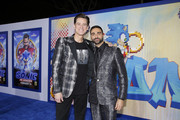 "Jim Carrey and Lee Majdoub attend a ""Sonic The Hedgehog"" Special Screening at the Regency Village Theatre on February 12, 2020 in Westwood, California."