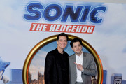 "Jim Carrey (L) and Ben Schwartz attend the ""Sonic the Hedgehog"" London Fan Screening at Vue Westfield on January 30, 2020 in London, United Kingdom."