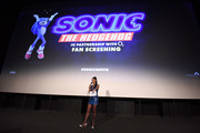 """Vick Hope attends the """"Sonic the Hedgehog"""" London Fan Screening at Vue Westfield on January 30, 2020 in London, United Kingdom."""