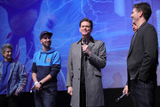 "Producer Neal H. Moritz, director Jeff Fowler, Jim Carrey, Dominik Porschen and Julien Bam attend the Special Screening of ""Sonic the Hedgehog"" at Zoo Palast on January 28, 2020 in Berlin, Germany."