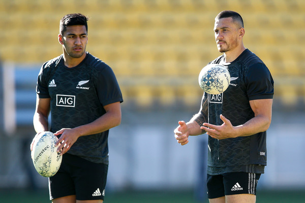 New Zealand Captain's Run [sports,ball game,player,team sport,sports equipment,rugby union,rugby,training,sports training,rugby player,wellington,new zealand,westpac stadium,new zealand all blacks captains run,new zealand captain,rieko ioane,sonny bill williams]