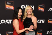 """Katrina Law (L) and Elisabeth Rohm arrive at Sony Crackle's """"The Oath"""" Season 2 exclusive screening event at Paloma on February 20, 2019 in Los Angeles, California."""