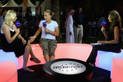 Annabel Croft of Great Britain and Barbara Schett of Austria interview Svetlana Kuznetsova of Russia on air for Eurosport TV during the Sony Ericsson Championships at the Khalifa Tennis and Squash Complex on October 30, 2009 in Doha, Qatar.