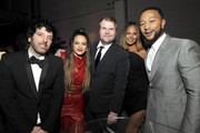 (L-R) Columbia Chairman & CEO Ron Perry, Rosalía, Sony Music Group Chairman Rob Stringer, Chrissy Teigen, and John Legend attend the Sony Music Entertainment 2020 Post-Grammy Reception at NeueHouse Hollywood on January 26, 2020 in Los Angeles, California.