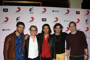 (L-R) Guitarist Mark Pellizzer of the band Magic!, President of Sony Music U.S. Latin Nir Seroussi and singer Nasri, bassist Ben Spivak and drummer Alex Tanas of the band Magic! attend Sony Music's Latin Grammy after party at XS The Nightclub at Encore Las Vegas on November 20, 2014 in Las Vegas, Nevada.