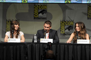 """(L-R) Actors Jessica Biel, Colin Farrell, and Kate Beckinsale speak during Sony's """"Total Recall"""" panel during Comic-Con International 2012 at San Diego Convention Center on July 13, 2012 in San Diego, California."""