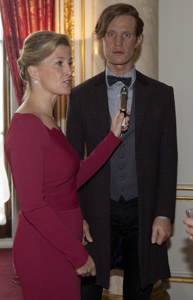 Sophie, Countess of Wessex is seen with a model of Matt Smith as The Doctor during a reception to mark the 50th anniversary of the hit TV series at Buckingham Palace on November 18, 2013 in London, England. Sophie, Countess of Wessex hosted a reception to mark the 50th anniversary of the TV series in which there have been 11 Doctors to date. It now holds the Guinness World Record for the longest running science fiction series in the world.