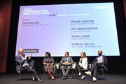 """(L-R) David Bloom, Denise Jackson, Dr. Habib Sadeghi, Shira Lazar, and Romany Malco speak onstage during SoulPancake's """"Four Conversations about One Thing"""" at Hammer Museum on May 29, 2019 in Los Angeles, California."""