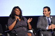 """(L-R) Denise Jackson and Dr. Habib Sadeghi speak onstage during SoulPancake's """"Four Conversations about One Thing"""" at Hammer Museum on May 29, 2019 in Los Angeles, California."""