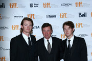 """(L-R) Tristan Gretzky, NHL legend Wayne Gretzky and Ty Gretzky attend the """"The Sound And The Fury"""" Premiere during the 2014 Toronto International Film Festival at Ryerson Theatre on September 6, 2014 in Toronto, Canada."""