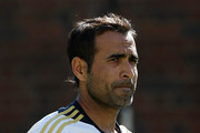 Imran Tahir looks on during a South African nets session at The Gabba on November 6, 2012 in Brisbane, Australia.