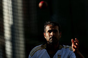 Imran Tahir looks on during a South African nets session at The Gabba on November 7, 2012 in Brisbane, Australia.