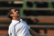 Imran Tahir of South Africa celebrates the wicket of Nathan Lyon of Australia for 2 runs during day 2 of the 2nd Sunfoil Series Test match between South Africa and Australia at Bidvest Wanderers on November 18, 2011 in Johannesburg, South Africa