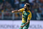 Imran Tahir of South Africa celebrates dismissing Joe Root of England during the 2nd KFC T20 International match between South Africa and England at Bidvest Wanderers Stadium on February 21, 2016 in Johannesburg, South Africa.