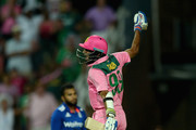Imran Tahir of South Africa celebrates hitting the winning runs to win the 4th Momentum ODI between South Africa and England at Bidvest Wanderers Stadium on February 12, 2016 in Johannesburg, South Africa.