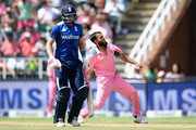 Imran Tahir of South Africa celebrates dismissing Alex Hales of England during the 4th Momentum ODI between South Africa and England at Bidvest Wanderers Stadium on February 12, 2016 in Johannesburg, South Africa.