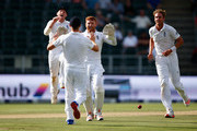 Jonny Bairstow of England celebrates running out Temba Bavuma of South Africa from Chris Woakes's fielding off Stuart Broad of England's bowling during day one of the 3rd Test at Wanderers Stadium on January 14, 2016 in Johannesburg, South Africa.
