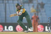 Imran Tahir of South Africa bats during the ICC World Twenty20 Bangladesh 2014 Group 1 match between South Africa and the Netherlands at Zahur Ahmed Chowdhury Stadium on March 27, 2014 in Chittagong, Bangladesh.