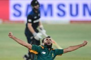 Imran Tahir of the Proteas celebrates the wicket of Kane Williamson of New Zealand during the 1st ODI match between South Africa and New Zealand at SuperSport Park on August 19, 2015 in Centurion, South Africa.