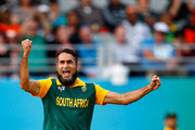 Imran Tahir of South Africa celebrates his wicket of Wahab Riaz of Pakistan during the 2015 ICC Cricket World Cup match between South Africa and Pakistan at Eden Park on March 7, 2015 in Auckland, New Zealand.