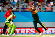 Imran Tahir of South Africa fields the ball  during the 2015 ICC Cricket World Cup match between South Africa and Pakistan at Eden Park on March 7, 2015 in Auckland, New Zealand.