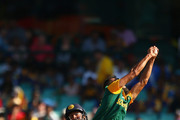 Imran Tahir of South Africa catches out Lahiru Thirimanne of Sri Lanka during the 2015 ICC Cricket World Cup match between South Africa and Sri Lanka at Sydney Cricket Ground on March 18, 2015 in Sydney, Australia.