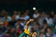 Imran Tahir of South Africa bowls during the 2015 ICC Cricket World Cup match between South Africa and the West Indies at Sydney Cricket Ground on February 27, 2015 in Sydney, Australia.