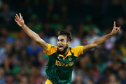 Imran Tahir of South Africa celebrates taking the wicket of Darren Sammy of West Indies during the 2015 ICC Cricket World Cup match between South Africa and the West Indies at Sydney Cricket Ground on February 27, 2015 in Sydney, Australia.
