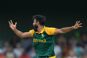 Imran Tahir of South Africa appeals for lbw during the 3rd Momentum ODI between South Africa and West Indies at Buffalo Park on January 21, 2015 in East London, South Africa.