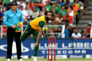 Imran Tahir of South Africa bowls during the 2nd KFC T20 International match between South Africa and West Indies at Bidvest Wanderers Stadium on January 11, 2015 in Cape Town, South Africa.
