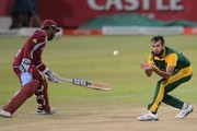Imran Tahir of the Proteas during the 1st Momentum ODI between South Africa and West Indies at Sahara Stadium Kingsmead on January 16, 2015 in Durban, South Africa.