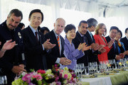 South Korean President Park Geun-hye (C), Los Angeles Mayor Antonio Villaraigosa (5th L) and California Governor Jerry Brown (3rd L) clap as the head table is introduced during a welcoming luncheon at the Getty House on May 9, 2013 in Los Angeles, California. Park will visit Korean business leaders in Los Angeles today as she continues a five-day, unity-building visit to the United States. Park has been in the United States since Monday, when she visited the United Nations. She met with President Barack Obama on Tuesday and addressed a joint session of Congress on Wednesday.
