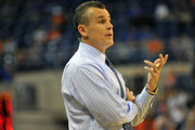 Coach Billy Donovan of the Florida Gators directs play against the Southern Jaguars November 18, 2013 at the Stephen C. O'Connell Center in Gainesville, Florida.   The Gators won 67 - 53.