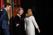 Prime Minister Pedro Sanchez, former Queen of Spain Sofia and Congress President Ana Pastor arrive to attend a celebration marking 40 years of democracy in Spain at the Spanish Congress on December 6, 2018 in Madrid, Spain. Constitution Day marks 40 years of democracy in Spain following four decades of dictatorial rule under Francisco Franco.
