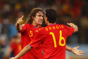 Carles Puyol Sergio Busquets Spain v Portugal: 2010 FIFA World Cup - Round of Sixteen