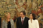 New Foreign Minister Tribidad Jimenez talks to new Labour Minister Valeriano Gomez and Enviroment Minister Rosa Aguilar (R) as they attend King Juan Carlos of Spain's ceremony at Zarzuela Palace on October 21, 2010 in Madrid, Spain.  Spain's Prime Minister Jose Luis Rodriguez Zapatero announced on Wednesday, October 20, 2010 a major reshuffle of his cabinet ministers as his Socialist party trails in the polls amid economic difficulties in Spain.