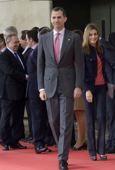 Princess Letizia of Spain (R) and Prince Felipe of Spain (C) attend the 'Alimentaria' gastronomic fair at the Fira Gran Via 2 on March 31, 2014 in Barcelona, Spain.