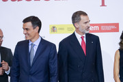(L-R) Prime Minister Pedro Sanchez and King Felipe VI of Spain attend a concert to commemorate the 40th anniversary of the Spanish Constitution at the 'Auditorio Nacional' on December 5, 2018 in Madrid, Spain.