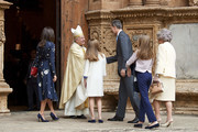 (L-R) Queen Letizia of Spain, Princess Leonor of Spain,  King Felipe VI of Spain, Princess Sofia of Spain and Queen Sofia attend the Easter Mass at the Cathedral of Palma de Mallorca on April 21, 2019 in Palma de Mallorca, Spain.