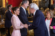 (L-R) Queen Letizia of Spain and Luis del Olmo attend a reception at the Royal Palace during the National Day on October 12, 2019 in Madrid, Spain.