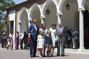 (L-R) King Felipe VI of Spain, Princess Sofia of Spain, Queen Sofia, Princess Leonor of Spain, Queen Letizia of Spain and King Juan Carlos pose for the photographers after the First Communion of Princess Leonor of Spain at the Asuncion de Nuestra Senora Church on  on May 20, 2015 in Madrid, Spain.