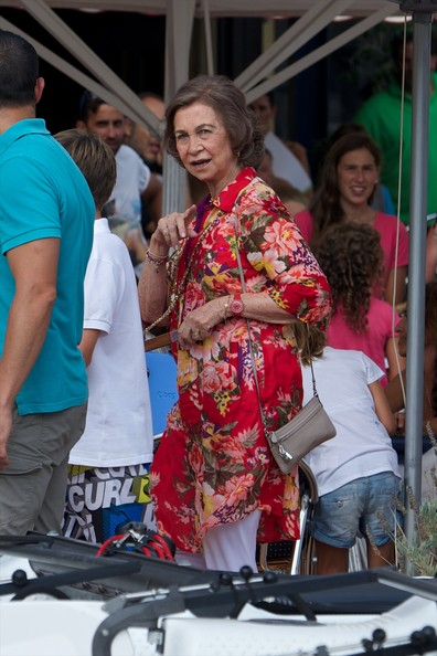 Queen Sofia of Spain arrives at the Calanova Sailing School on August 01, 2014 in Palma de Mallorca, Spain.