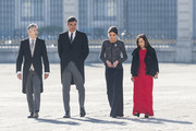(L-R) Fernando Grande-Marlaska, Pedro Sanchez, Queen Letizia of Spain and Margarita Robles attend New Year Military Parade 2019 celebration at Royal Palace on January 06, 2019 in Madrid, Spain.