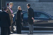 (L-R) King Felipe VI of Spain, Queen Letizia of Spain and Pedro Sanchez attend New Year Military Parade 2019 celebration at Royal Palace on January 06, 2019 in Madrid, Spain.