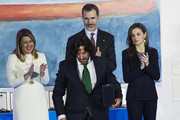 Rafael Amargo (C) receives the Gold Medal of Merit in Fine Arts 2016 from King Felipe VI of Spain and Queen Letizia of Spain at the Pompidou Center on February 6, 2018 in Malaga, Spain.