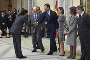 (L-R) Carlos Sainz Vazquez de Castro, King Juan Carlos, King Felipe VI of Spain, Queen Letizia of Spain, Queen Sofia and Miguel Cardenal, Secretary of State of Sport attend the National Sports Awards 2014 at the El Pardo Palace on November 17, 2015 in Madrid, Spain.