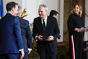 David Summers of the music band Hombres G receives the  'Bellas Artes' Golden Medal Awards at the Palace of Merced from King Felipe VI of Spain and Queen Letizia of Spain on February 18, 2018 in Cordoba, Spain.